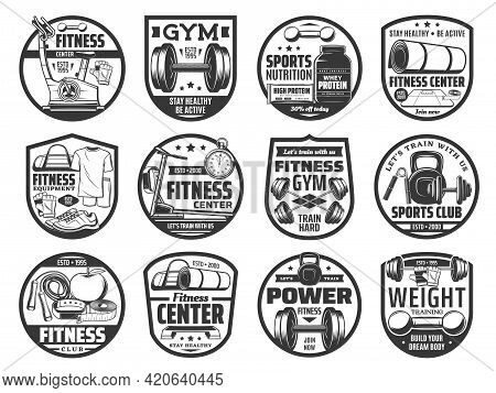 Fitness Gym Icons, Sports Club And Weight Training. Vector Dumbbell, Barbell And Kettlebell, Sports