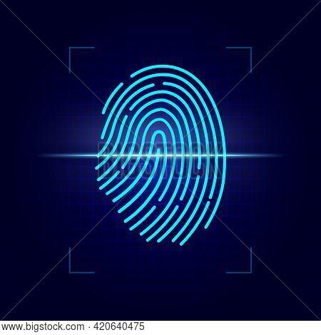 Fingerprint Scan Of Biometric Identification Vector Design. 3d Finger Print Of Digital Laser Scanner