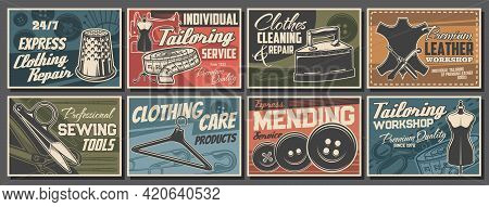 Tailoring Service And Sewing Tools Retro Vector Posters. Ripper, Thimble, Buttons Mannequin With Han