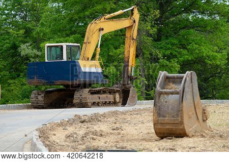 Excavator Loader Machine During Earthmoving Works Outdoors Power Outdoor