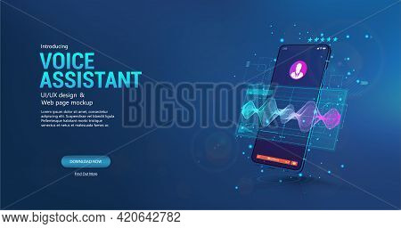 Voice Assistant In Smartphone Application. 3d Mockup Smartphone With Sound Wave And Ui. Microphone V