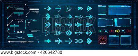 Futuristic User Elements Set. Hud Callouts Titles, Arrows And Frame Screens. Digital Gui, Hud And Ui