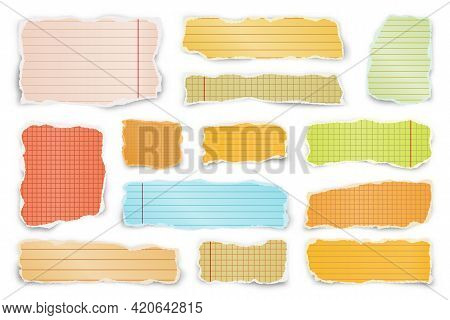 Ripped Colorful Paper Strips. Realistic Crumpled Paper Scraps With Torn Edges. Lined Shreds Of Noteb