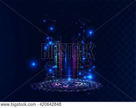 Futuristic And Magic Portal. Futuristic Scene With Neon And Light Effects. Digital Circle Portal Or