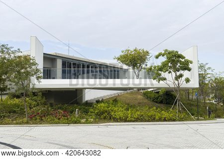 Hong Kong - November 2020: Arts Pavilion In West Kowloon Cultural District. An Exhibition And Event