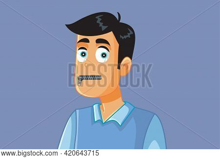 Funny Secretive Man With Zipped Mouth Vector Illustration