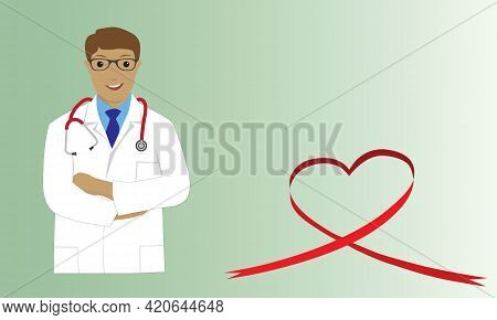 Cardiologist Doctor With Stethoscope And Red Ribbon In Heart Shape