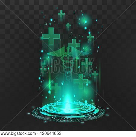 Hologram With Medical Symbols For The Restoration Of Lives In The Game And The Presentation Of Produ