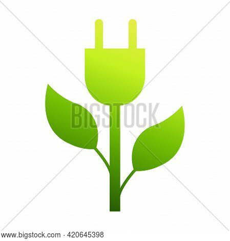 Eco Energy Green Plug In Vector Icon Save Energy Stem Leaves With Electric Plug Ecology Concept For