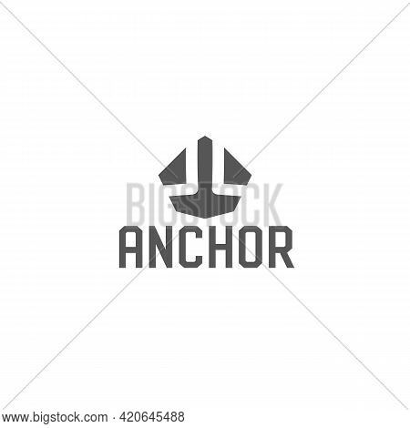 Anchor Logo Template. Vector Geometric Abstract Emblem. Heavy And Strong Anchor Sign For Boat Servic