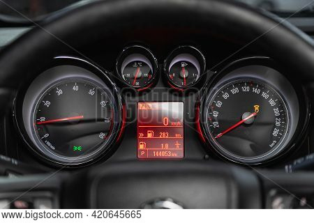 Novosibirsk, Russia - May 16, 2021: Opel Astra,   Close Up Instrument Automobile Panel With Odometer