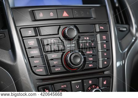 Novosibirsk, Russia - May 16, 2021: Opel Astra,   A Close Up On A Black Panel With Radio,  Player An