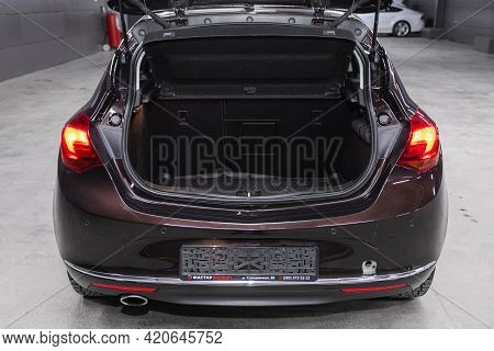 Novosibirsk, Russia - May 16, 2021: Opel Astra,   Rear View Of A Car With An Open Trunk. Exterior Of