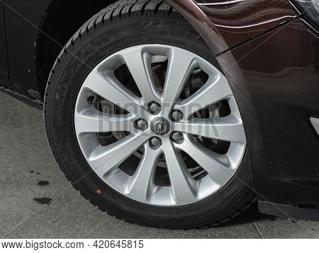 Novosibirsk, Russia - May 16, 2021: Opel Astra,   Close-up Of The Bumper, Alloy Wheel, Car Detailing