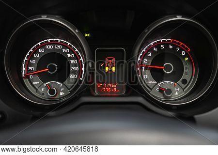 Novosibirsk, Russia - May 16, 2021:mitsubishi Pajero,   Close Up Instrument Automobile Panel With Od