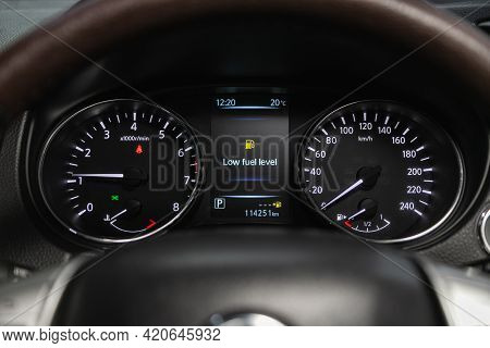 Novosibirsk, Russia - May 16, 2021: Nissan X-trail,   Close Up Instrument Automobile Panel With Odom