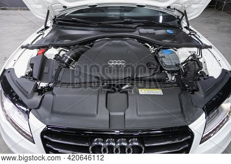 Novosibirsk, Russia - May 16, 2021: Audi A7,   Car Engine Close-up. Internal Combustion Engine, Car