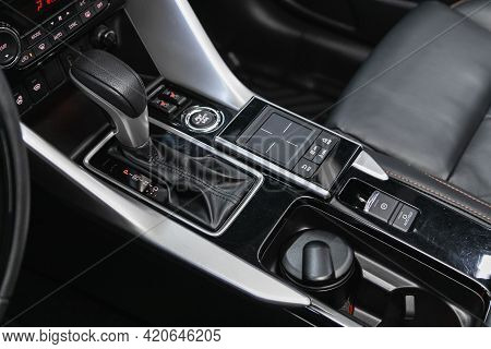 Novosibirsk, Russia - May 16, 2021: Mitsubishi Eclipse Cross,   Close Up Of The Manual Gearbox Trans