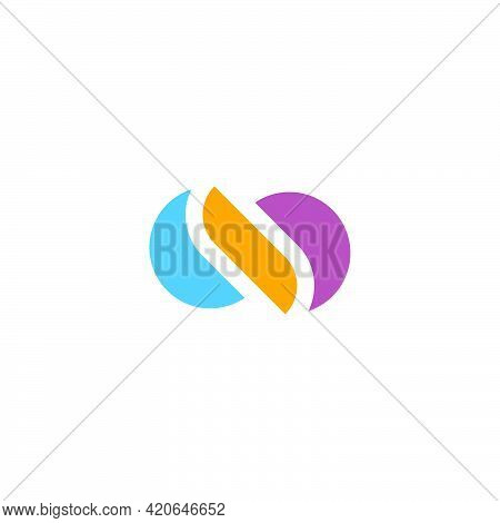 Abstract Linked Circle Curves Colorful Logo Vector