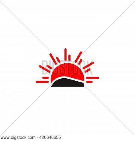Sun Rays Land Simple Geometric Japan Design Logo Vector