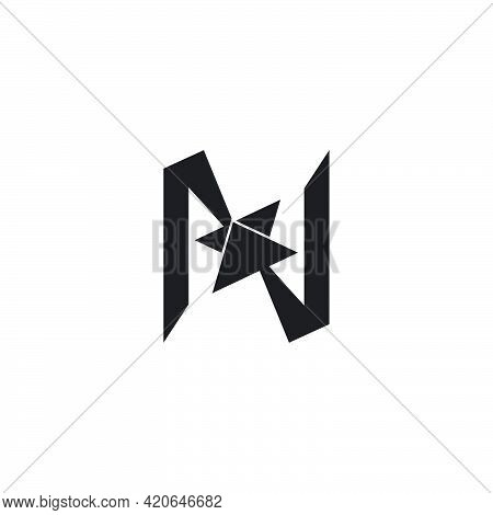 Letter N Opposite Arrow Geometric Simple Logo Vector