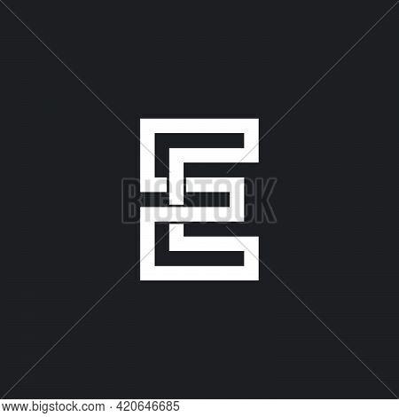 Letter E Uppercase Infinity Geometric Line Logo Vector
