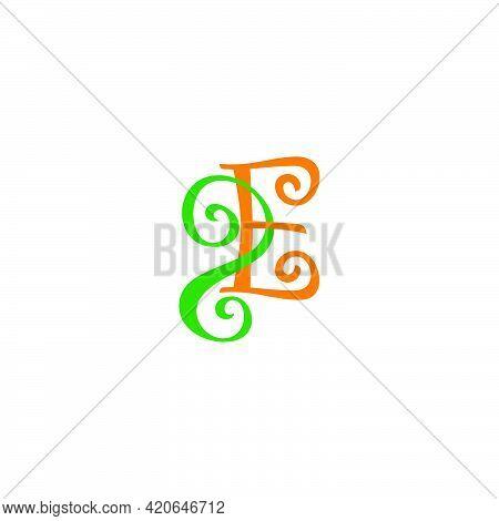 Letter 2e Connect Design Curves Simple Colorful Logo Vector