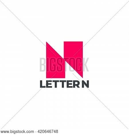 Letter N Simple Geometric Square Slice Logo Vector