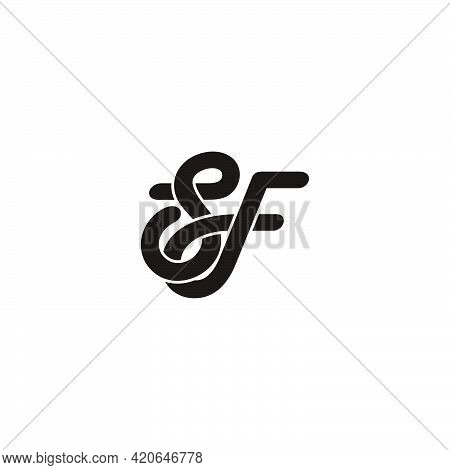 Letter Sf Curves Overlapping 3d Flat Logo Vector