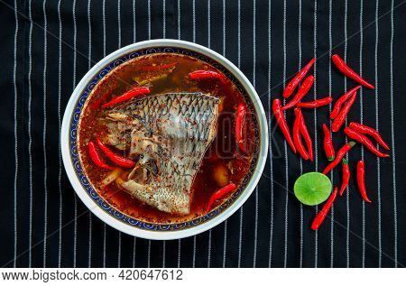 Tom Yum Pla, A Thai Style Dish That Emphasizes The Spicy And Spicy Taste Of Chili And Sour With Lemo