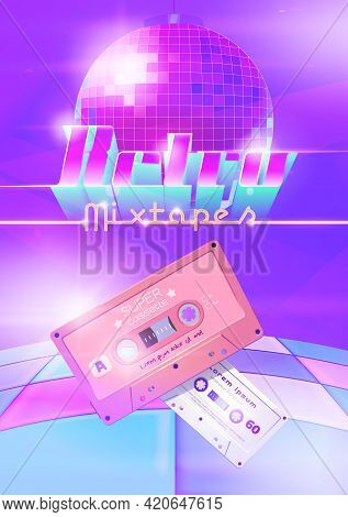 Retro Mixtapes Cartoon Poster With Audio Cassettes, Disco Ball And Dance Floor. Mix Tapes Store Ad,