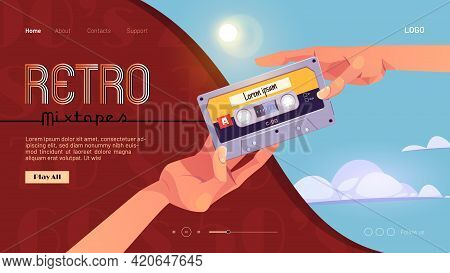 Retro Mixtapes Cartoon Landing Page With Human Hands Giving Audio Cassettes To Each Other. Vector Mu