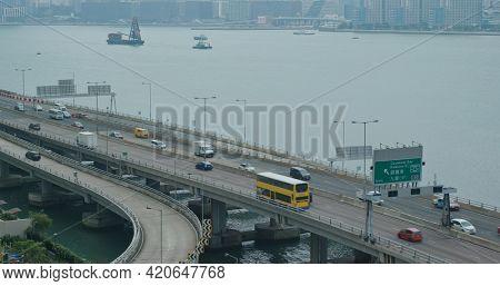North Point, Hong Kong 07 October 2020: Highway traffic in Hong Kong