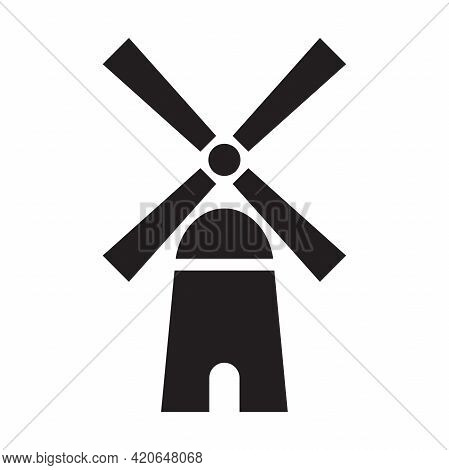 Windmill Alternative Wind Turbine And Renewable Energy Vector Icon Environment Concept For Graphic D