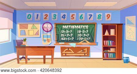 Mathematics Classroom Empty Interior, School Or Preschool Class With Teacher Table, Blackboard With