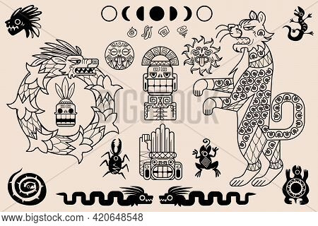 Aztec And Mayan Ornaments, Ancient Mexican Tribal Patterns. Ethnic Native Art. Vector Set Of Traditi