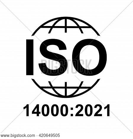Iso 14000:2021 Icon. Environmental Management. Standard Quality Symbol. Vector Button Sign Isolated