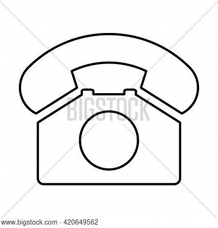 Old Phone Flat Icon Isolated On White Background. Hotline Symbol. Telephone Vector Illustration. Tel