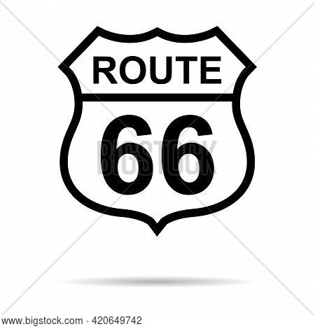 Route 66 Classic Icon, Travel Usa History Highway, America Road Trip Vector Background .