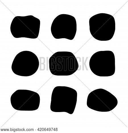 Set Of Abstract Ink Blotch, Round Liquid Blot Inkblot Shape. Freskle Pebble. Deform Random Smooth Ve