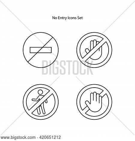 No Entry Icons Set Isolated On White Background From Signs Collection. No Entry Icon Trendy And Mode