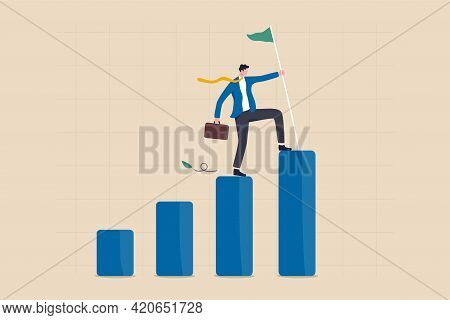 Achievement Or Business Success, Reaching Goal Or Target, Challenge And Career Growth Concept, Succe
