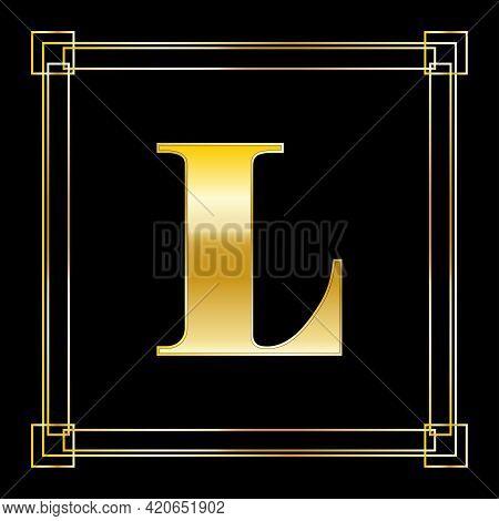 Letter L Logo Design With Square Ornament, Luxury Golden Design, Vector Illustration