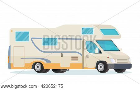 Rv Mobile Home Truck. Camper Van, Mobile Home For Summer Trip, Family Tourism And Vacation. Vector I