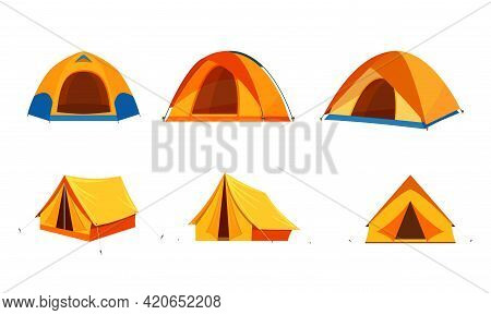Tent Camping Set In Outdoor Travel. Tourist Tent Icon Isolated On White Background For Nature Touris