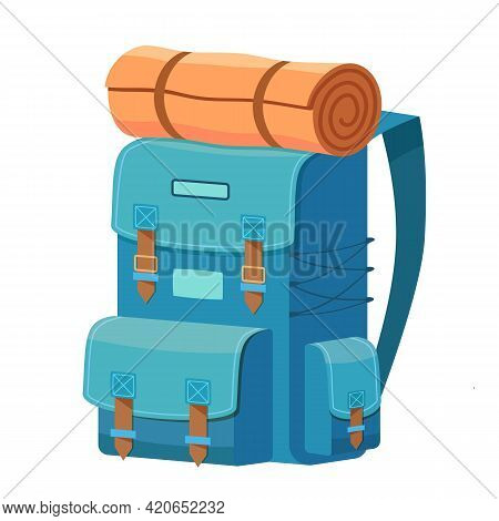 Cartoon Camping Backpack With Roll Mat Travel And Tourism Icon Isolated On White Background. Outfit