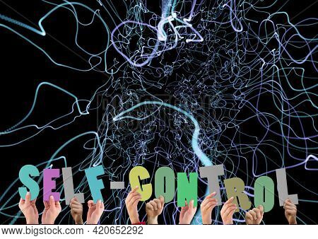 Composition of self control text in multi coloured letters held by people with green light trails. motivation and encouragement concept digitally generated image.