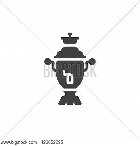 Retro Tea Maker Vector Icon. Filled Flat Sign For Mobile Concept And Web Design. Samovar Glyph Icon.