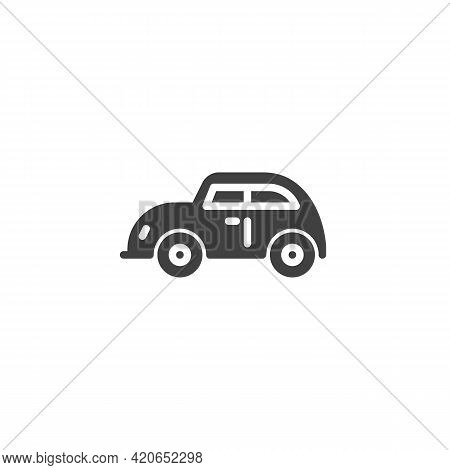 Retro Car Vector Icon. Filled Flat Sign For Mobile Concept And Web Design. Vintage Automobile Glyph