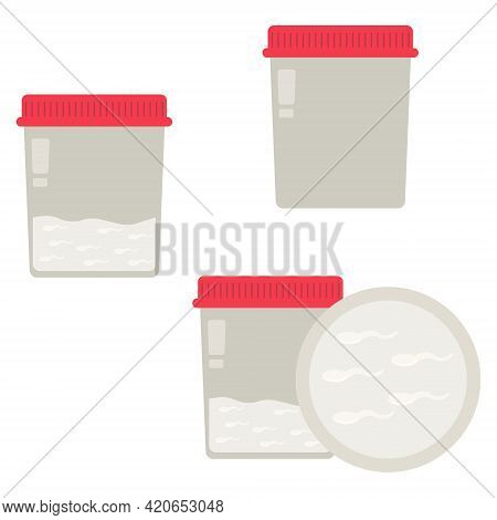 Semen Examination, Collection Containers And Sperm Counts, Seminal Fluid In A Container For Examinat